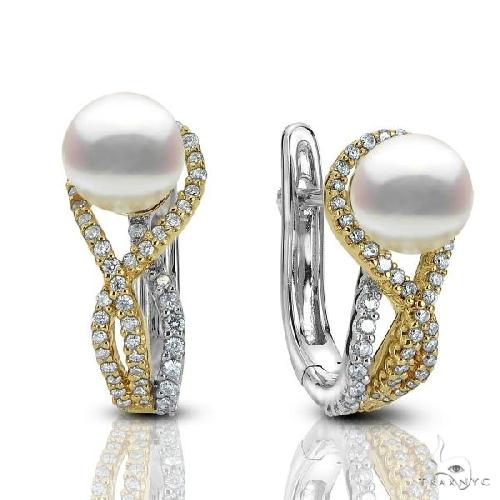 Akoya Pearl and Diamond Twist Drop Earrings 14k Two Tone Gold Stone