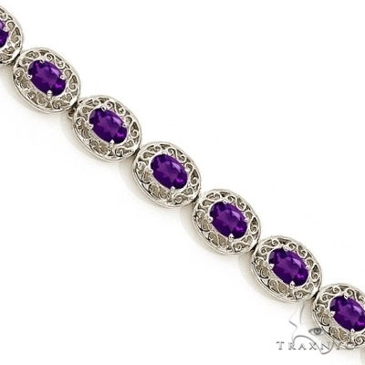 Amethyst Antique Style Filigree Link Bracelet 14k White Gold Gemstone & Pearl