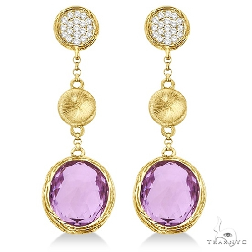 Amethyst and Diamond Dangle Drop Earrings 14k Yellow Gold (10.25ct) Stone