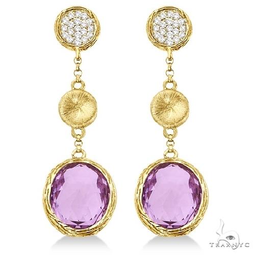 Amethyst and Diamond Dangle Drop Earrings 14k Yellow Gold (10.25ct) Stone