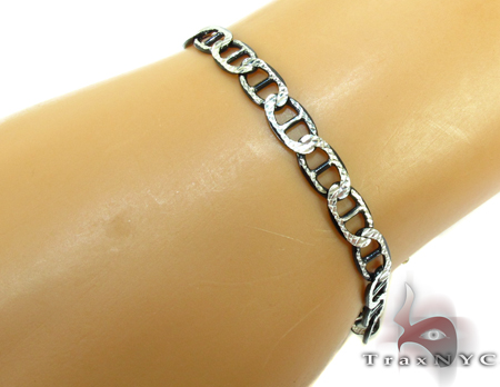Diamond Cut Black Silver Bracelet 27662 Silver & Stainless Steel
