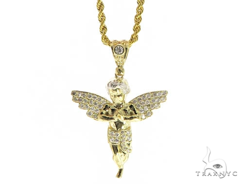 Angel Gold Pendant and Rope Chain Set 49607 Metal