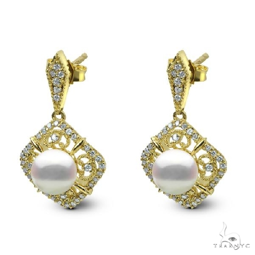Antique Akoya Pearl Drop Earrings w/ Diamonds in 14k Y. Gold Stone