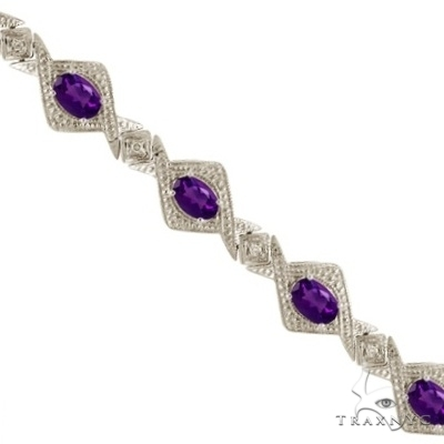 Antique Style Amethyst and Diamond Link Bracelet 14k White Gold Gemstone & Pearl