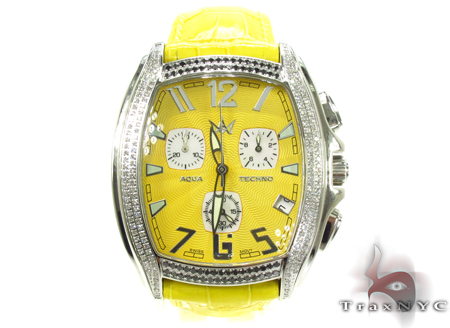 Aqua Techno Diamond with Yellow Leather Watch Aqua Techno