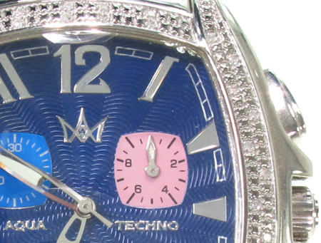 Aqua Techno Blue Steel & Diamond Watch Aqua Techno