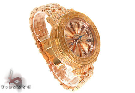 Aqua Techno Speeding Rose Color Dial with White Color Diamond Watch Aqua Techno