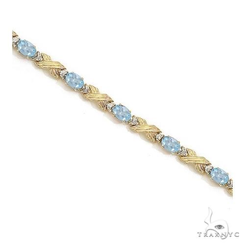 Aquamarine and Diamond XOXO Link Bracelet 14k Yellow Gold Gemstone & Pearl