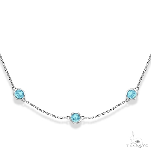 Aquamarines Gemstones by The Yard Station Necklace 14k W. Gold Gemstone
