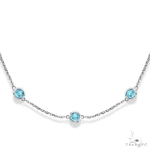 Aquamarines Gemstones by The Yard Station Necklace 14k W. Gold Gemstone