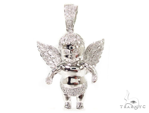 Baby angel pendant 36622 mens diamond pendant white gold 10k aloadofball Gallery