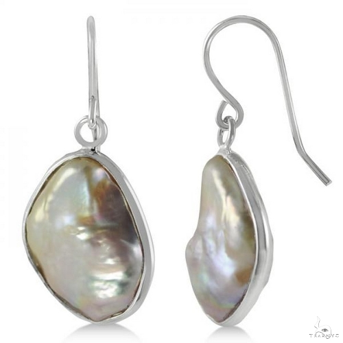 Baroque Freshwater Cultured Pearl Drop Earrings Sterling Silver 18mm Stone