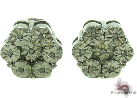 Bezel Black Diamond Silver Earrings 31142 Metal