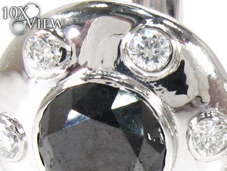Bezel Black and White Diamond Cuff Stone