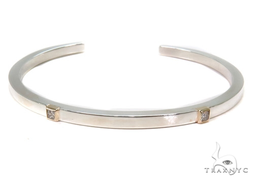 Bezel Diamond Bangle Bracelet 37321 シルバー ブレスレット