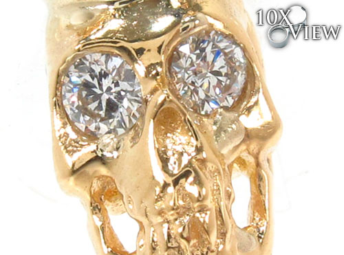 Bezel Diamond Crown Skull Pendant Style