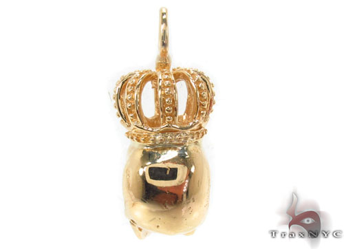 Bezel Diamond Crown Skull Pendant Style
