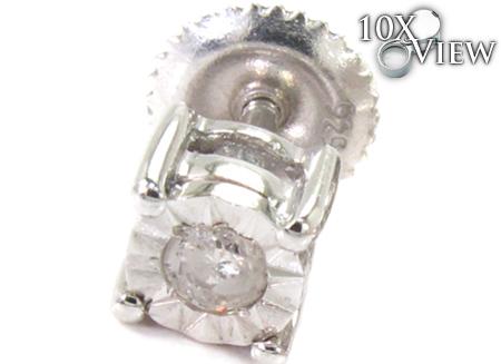 Bezel Diamond Silver Stud Earrings 27321 Metal