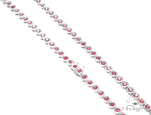 Bezel Pink Diamond Chain 18 Inches 4mm 22.6 Grams 41966 Diamond