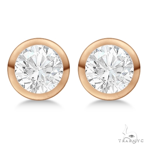 Bezel Set Diamond Stud Earrings 18kt Rose Gold G-H, VS2-SI1 Stone