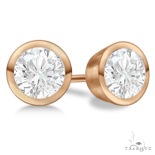 Bezel Set Diamond Stud Earrings 18kt Rose Gold H-I, SI2-SI3 Stone