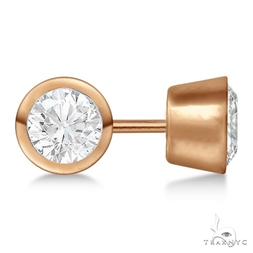 Bezel Set Diamond Stud Earrings 18kt Rose Gold H-I, SI2-SI3 Stone