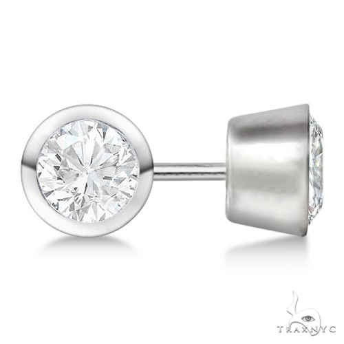 Bezel Set Diamond Stud Earrings Palladium H, SI1-SI2 Stone