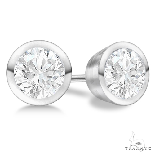Bezel Set Diamond Stud Earrings Platinum G-H, VS2-SI1 Stone