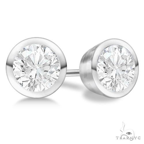 Bezel Set Diamond Stud Earrings Platinum H, SI1-SI2 Stone