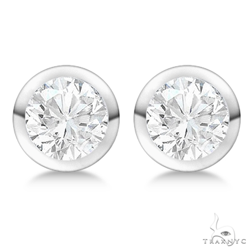 Bezel Set Diamond Stud Earrings Platinum H-I, SI2-SI3 Stone