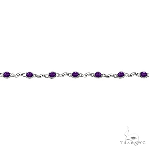 Bezel-Set Oval Amethyst Bracelet in 14K White Gold (7x5 mm) Gemstone & Pearl