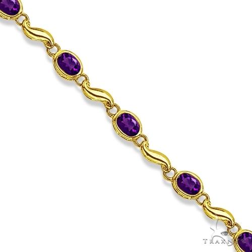 Bezel-Set Oval Amethyst Bracelet in 14K Yellow Gold (7x5 mm) Gemstone & Pearl