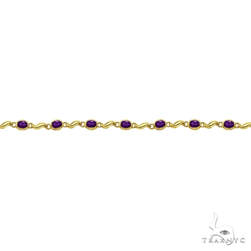 Bezel-Set Oval Amethyst Bracelet in 14K Yellow Gold (7x5 mm) Gemstone & Pearl