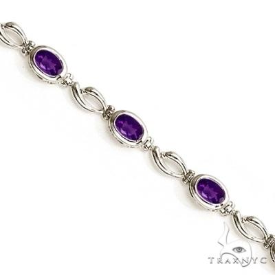Bezel-Set Oval Amethyst Link Bracelet in 14K White Gold (6x4mm) Gemstone & Pearl