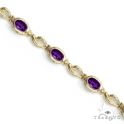 Bezel-Set Oval Amethyst Link Bracelet in 14K Yellow Gold (6x4mm) Gemstone & Pearl