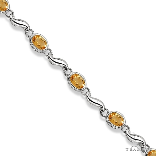 Bezel-Set Oval Citrine Bracelet in 14K White Gold (7x5 mm) Gemstone & Pearl