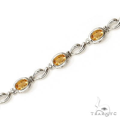 Bezel-Set Oval Citrine Link Bracelet in 14K White Gold (6x4mm) Gemstone & Pearl