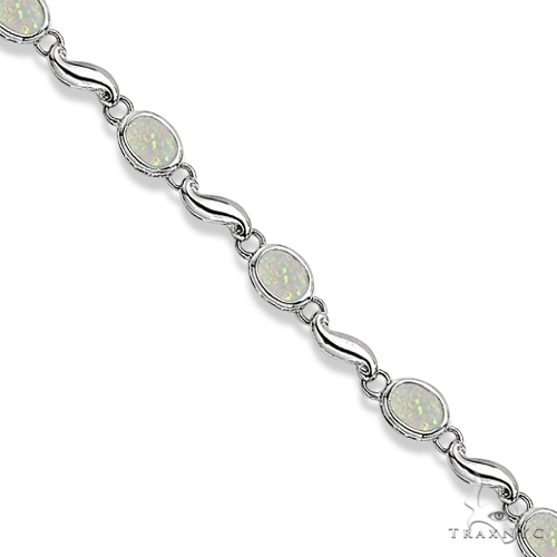 Bezel-Set Oval Opal Bracelet in 14K White Gold (7x5 mm) Gemstone & Pearl