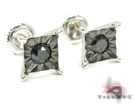Bezel Single Black Diamond Earrings 26060 Stone