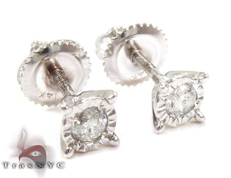 Bezel Single Diamond Earrings 26063 Stone