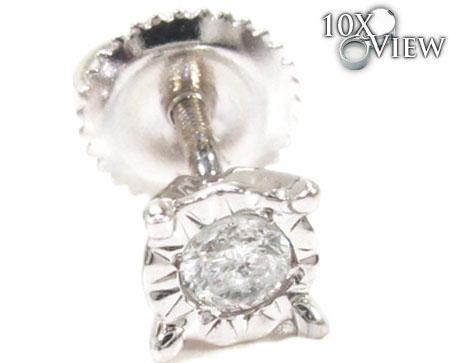 Bezel Single Diamond Earrings 26063 Stone