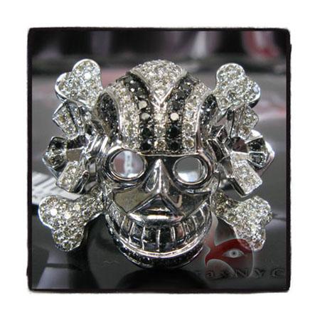 Black & White Diamond Skull Head Ring Stone