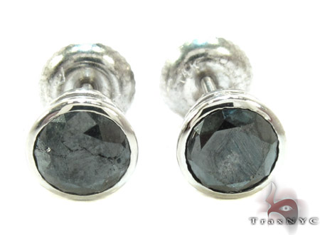 Black Bezel Diamond Stud Earrings 20733 Stone
