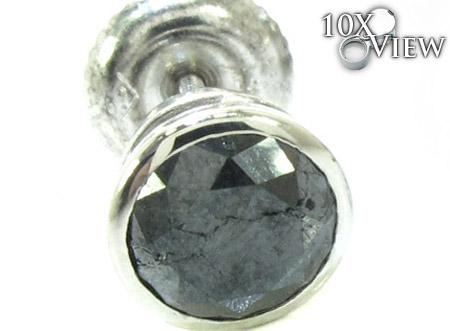 Black Bezel Diamond Stud Earrings 20733 Stone