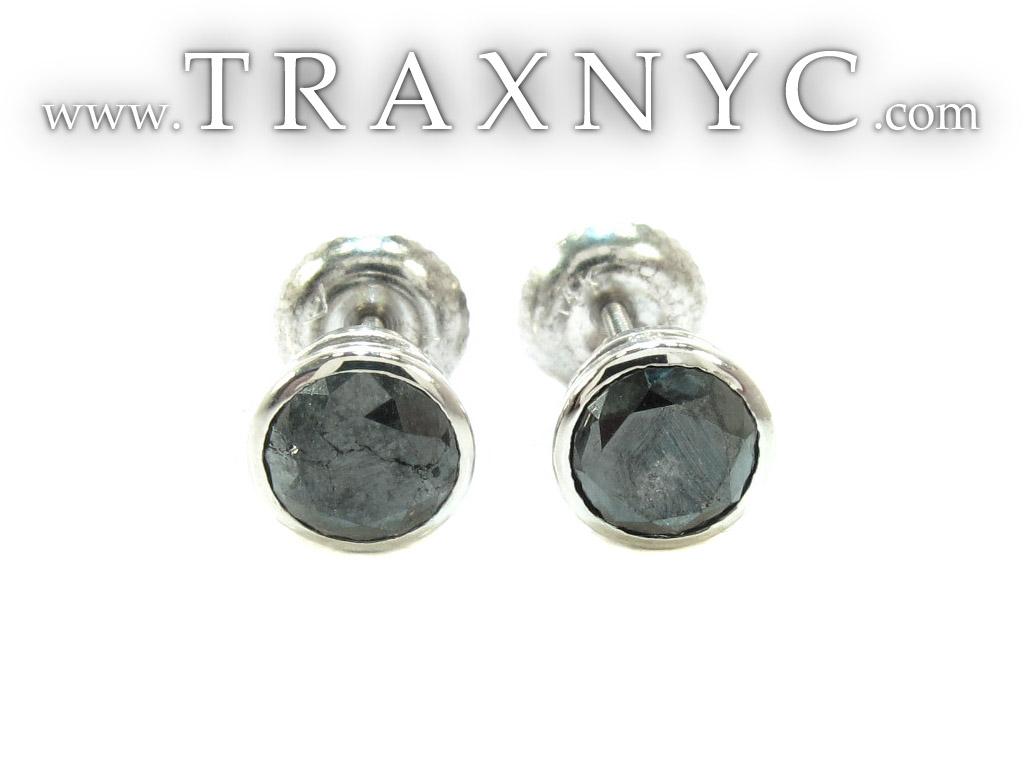 Black Bezel Diamond Stud Earrings