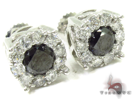 Black Diamond Earrings 28962 Stone
