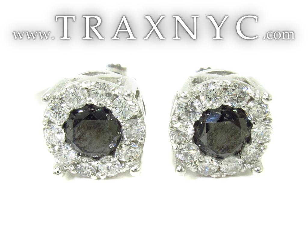 Black Diamond Earrings Black Diamond Earrings for Men White Gold 14k