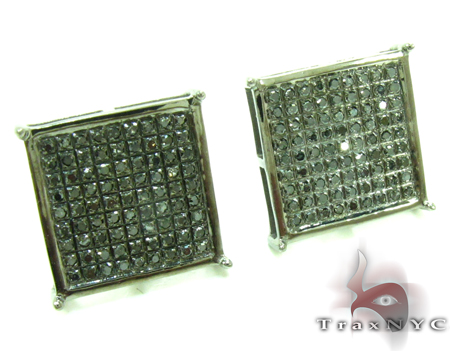 Black Diamond Square Earrings 27621 Stone