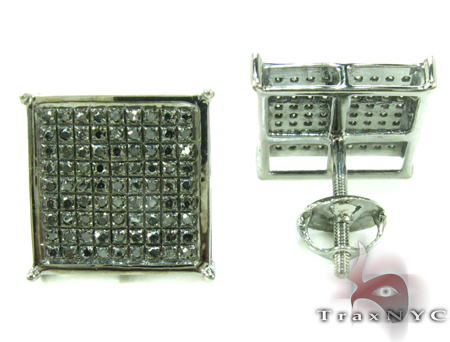 Black Diamond Square Earrings 27621 Stone