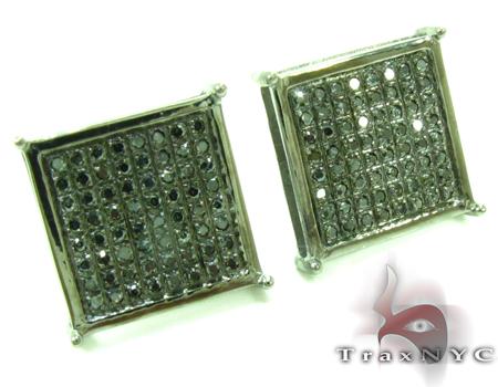 Black Diamond Square Earrings 27622 Stone